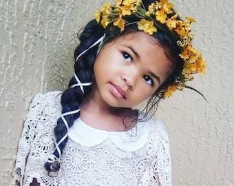 Fall Flower Crown - Mustard Yellow Crown, Autumn Crown, Baby Fall Crown, Child Fall Crown, Fall Hair Accessory, Fall Wedding Crown, Baby