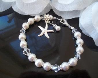 Beach Pearl Bracelet,Bridal Bridesmaid Bracelet,Swarovski Pearls Crystal, Silver Starfish Charm, Starfish Bracelet, Beach Nautical Wedding