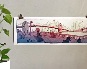 "BROOKLYN BRIDGE PARK - nyc Panoramic Illustration Art Print - New York City Architecture - limited edition artwork 18"" x 6.5"""