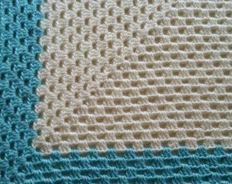 Robin Egg Blue and White Crocheted Baby Blanket