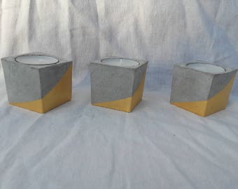 concrete cube candle holder gold graphic pattern