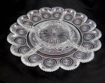 Pressed Glass Platter with Compartments, Sunburst. Vintage.