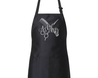 Hair Stylist Bling Glitter Design Personalized Apron with Adjustable Neck Strap