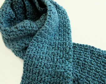 Blue Mens Scarf - Blue winter scarf for guys - Boyfriend gift idea - Mans Scarf