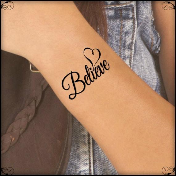 Temporary tattoo believe heart fake tattoo thin durable for Tattoo on fake skin