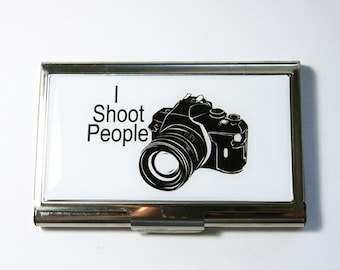Business Card Case, Gift for Photographer, Card case, business card holder, Photographer, I Shoot People (3031)