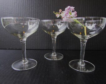 Set of 3 Mid Century Modern Champagne Glasses - Coupe Saucer -  Straight Stem - Hollywood Regency - Mod -