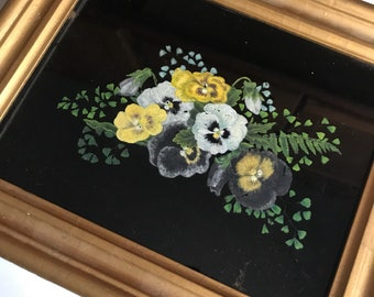 Vintage Pansies - Just Breathtaking!Antique Victorian Reverse Oil Painting - Authentic and Wonderful - A Turn of the Century Beauty!