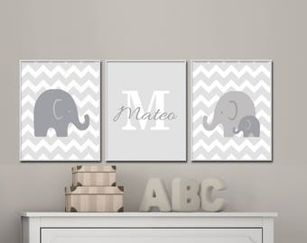 Grey and White Nursery Wall Art, Elephant Nursery Art prints, Baby Boy or Girl Nursery Arty, Suits Grey and White Decor, Name Wall Art -H358