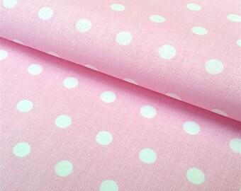 Polka dot pink and white Peas, oeko TeX certified cotton, 1/2 meter