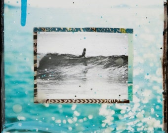 SHE SLIDES, Giclee, 8x8 and Up, Print on Canvas, ocean, turquoise, surfing, black and white, female surfer, wall art, ocean art, Collage