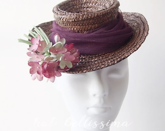 SALE Coffee 1940's hat Tilt Hat  Vintage Style straw hat Summer hat hatbellissima  garden party hats ladies' and misses' hats