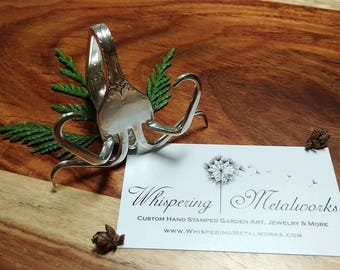 Fork Business Card Holder - recipe card holder - photo holder - wedding place card - vintage - silver - rustic farmhouse fork art open house