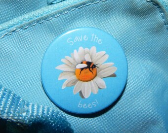 Save the bees! badge, 38mm badge