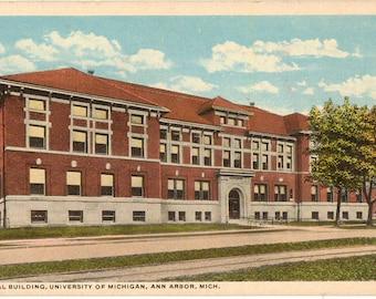 Linen Postcard, University of Michigan, Dental Building, Ann Arbor, Michigan