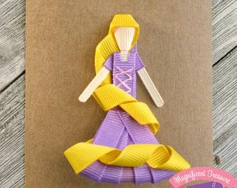 Rapunzel Hair Clip - Tangled Hair Bow - Rapunzel Ribbon Sculpture - Disney Princess Clippie - Rapunzel Party Favor - Tangled Pin