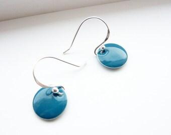 Blue Earrings/ Dangle Sterling Silver Earrings/ Dainty earrings/ Simple Drop Earrings/ Modern Everyday Earrings/ Summer Earrings