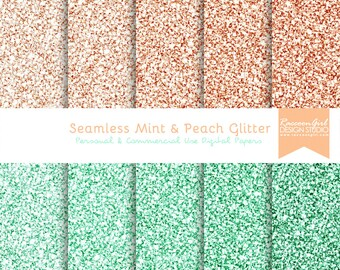 Seamless Mint and Peach Glitter Digital Paper Set - Personal & Commercial Use