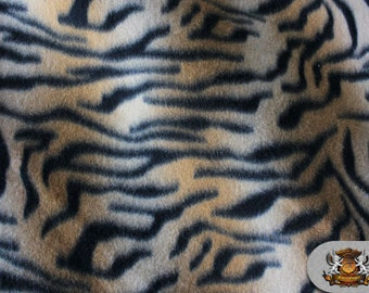 "Fleece Animal Print ORANGE TIGER Fabric / 58"" Wide / Sold By the Yard"
