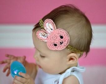 Easter Bunny Headband Baby Headband Shabby Headband Toddler Girl Rabbit
