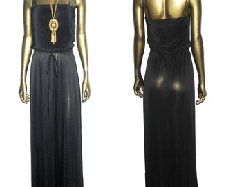 Vintage Black Strappy Pleated Blouson Long Disco Dress