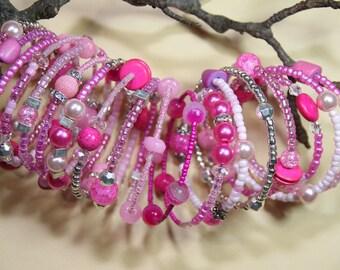 Bazooka Bubble Gum Pink      Women's Beaded  Cuff  17 coil Wrap  around