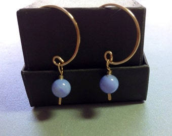 Blue Lace Agate Gemstones Wire Wrapped on 14kt Gold Filled Hoop Earrings 1.25 Inches Long Previously Twenty Five Dollars ON SALE