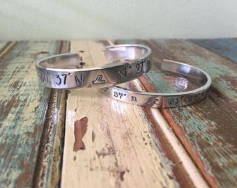 Latitude and Longitude, hand stamped, personalized, cuff bracelet,anchor-free domestic shipping-location jewelry-personalized jewelry- gift