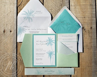 Beach Wedding Invitations SAMPLE SET - Tropical destination wedding invitation suite, Luxury pocket wedding invitation, Palm Tree PBW019-S