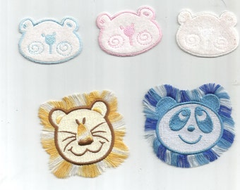 5 pc Fabric Bears Pink White Baby Blue Lion and Panda Iron On Patch Applique 062416