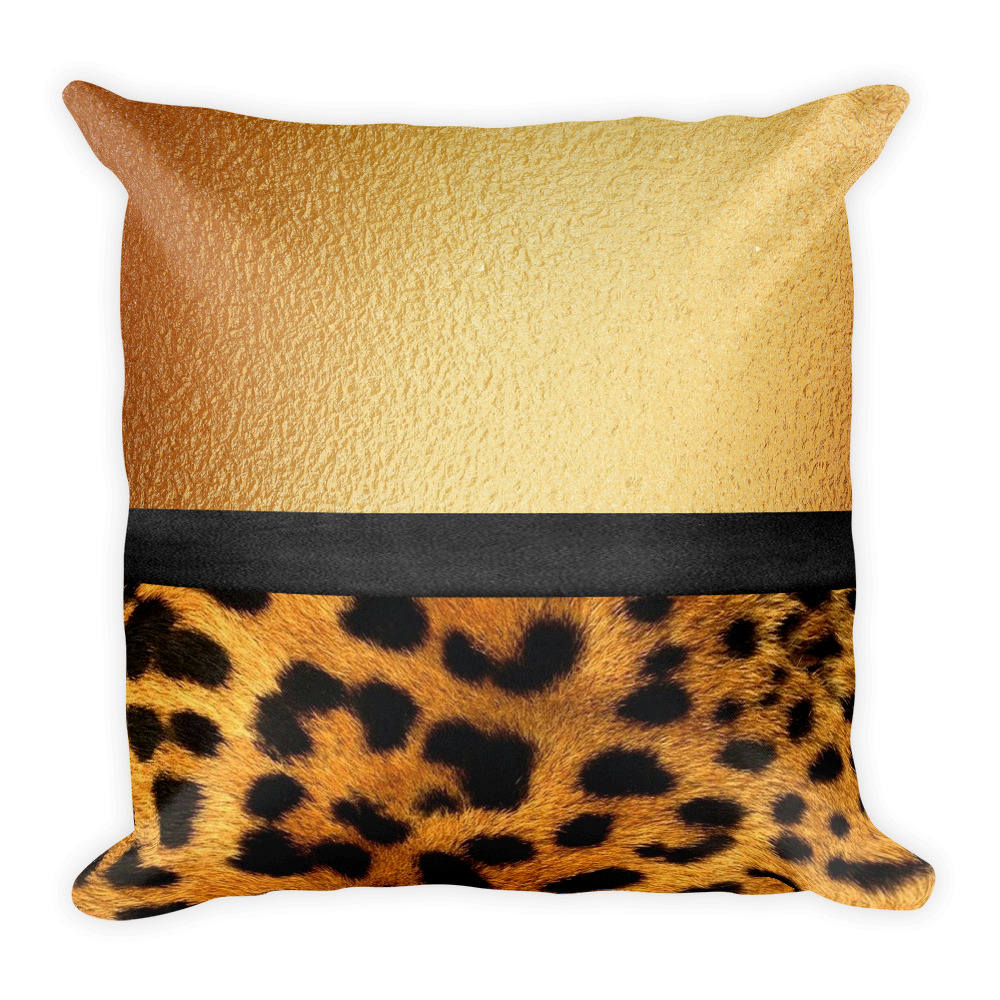 Gold Throw Pillow Leopard Fur Print Pillow Gold and Fur