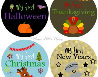 First Holiday Stickers, Monthly Baby Stickers, Girl or Boy, Milestone Stickers, Month to Month Stickers #128
