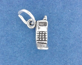 CELL PHONE Charm .925 Sterling Silver Cellphone, Smartphone, Telephone Small Miniature - lp2201