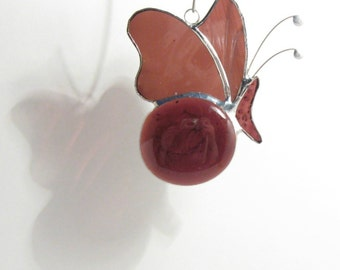Stained Glass Butterfly Aubergine - Decorative Mobile