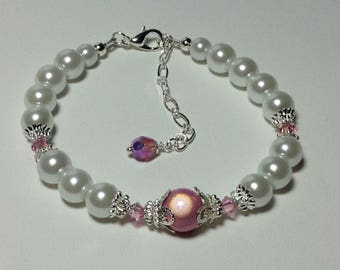 Pink Rose Luster and White Pearl Bridesmaid Bracelet