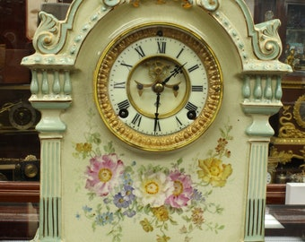 1800s Bonn Germany Table Clock with Ansonia Clock Co NY USA Movement