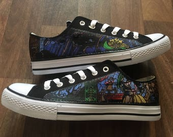 Womens/girls beauty and the beast stained glass inspired canvas low tops,UK sizes available 3,4,5,6,7 and 8