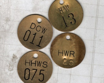 Brass Tags Number Tag 4 pieces Metal Industrial