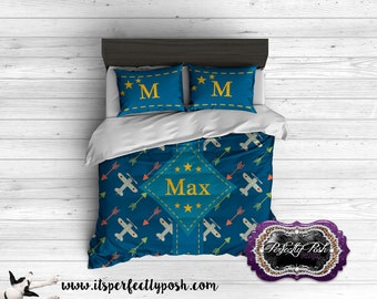 Vintage Airplane Theme  Bedding Custom Design and Personalized Comforter or Duvet with Monogram