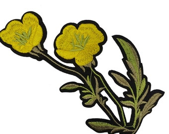 Iron On Embroidered Yellow Flowers Patches, Stem Flowers Appliques