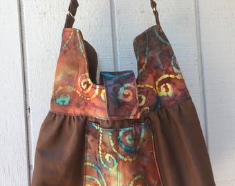 Price Reduced! Shoulder Bag made with Batik and Brown Sailcloth. .