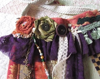 Small Patchwork Bag, festival purple orange colors, colorful hippie bag, granny bag, lace tassels, handmade fabric bag