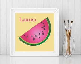 Watermelon Print, Watermelon Art, Add Name or Word to Print, Kitchen Fruit - PP022