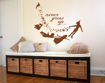 Wall Decal Vinyl Sticker Bedroom never grow up peter pan quote nursery  bo3285