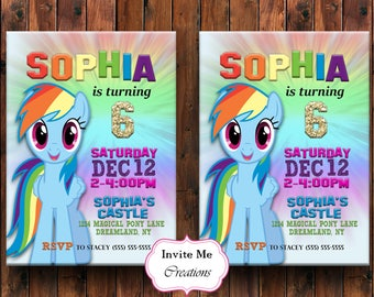 Rainbow Dash Birthday Invitation, Rainbow Dash Invite, My Little Pony Invitation, My Little Pony Birthday Invite, Rainbow Invite, Pinkie Pie