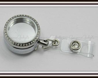 30mm Floating Locket / Glass Locket / Memory Locket Badge Reel Pendant Locket Stainless Steel With Crystals