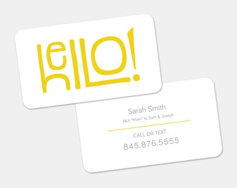Premade Calling Card Design | Customized for YOU - Two Sided Personalized Card | Cute Yellow Funny Positive Message Card