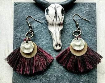 Red tassel earrigs, black tassel earrings, fringe earrings,  boho  earrings, bohemian earrings, bronze earrings
