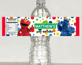 Printable - elmo sesame street water bottle label