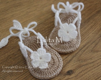 Crochet baby sandals, gladiator sandals, baby booties, shoes, baby slippers, flower sandals, 0-3, 3-6 months,baby shower gift, announcement